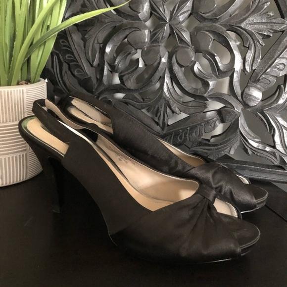 Black Satin Bow High Heels